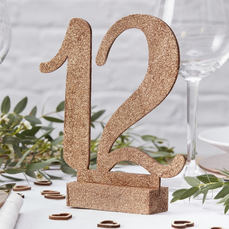 Rose Gold Glitter Wooden Table Numbers 1 12 Wedding And
