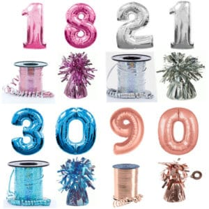 Giant Number Balloons - Helium Filled - Available in Blue, Pink, Silver, Gold and Rose Gold