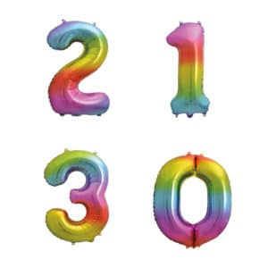 """34"""" Giant Rainbow Number Balloons - Helium Filled"""