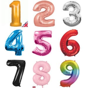 Giant Foil Number Balloons - Helium Filled - Choose from Gold, Rose Gold, Silver, Blue, Pink, Red, Black, Pastel Pink, Rainbow